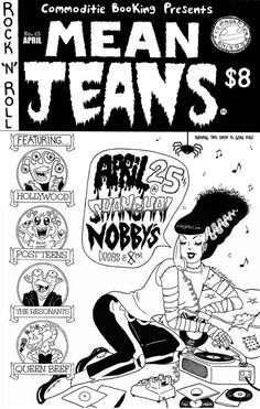 Mean Jeans show flyer drawn by H