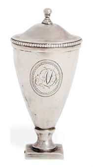 A GEORGE III SILVER NUTMEG GRATER  MAKER'S MARK ONLY OF HESTER BATEMAN, LONDON, CIRCA 1790  Vase shaped on pedestal foot with folding front and fixed steel grater, bright engraved reserve with the initials AD to the front  2 7/8 in. (7.4 cm.) high