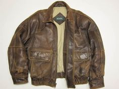 Awesome Andrew Marc New York Brown Distressed Leather Bomber Jacket M 40 42 | eBay