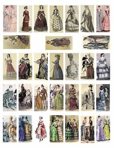 Victorian women french fashion dresses clothing 1500s-1800s collage by Herculiz from Etsy