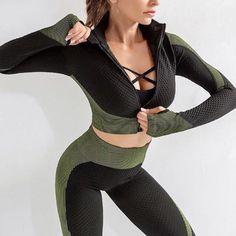 Sports Suit Womens Zipper Gym Yoga Set Shirts+Leggings Stretchy R – Green Leggings, Yoga Leggings, Workout Leggings, Yoga Pants, Gym Pants, Running Leggings, Workout Pants, Yoga Sport, Gym Outfits