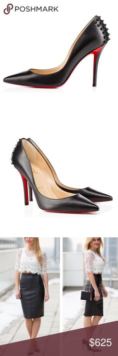 😻Zappa 100 Louboutin Leather Spike Pumps✨EU39/8.5 👉🏾Looking for $550👈🏻Purchased at Barney's NY in Las Vegas. Worn 2 times (**some wear not very noticeable)- •**Flaws: one missing Spike on left shoe , some scuffing on red soles, and (some small imperfections on the leather; ALL can be fixed by a good cobbler for around $30) More pics to follow •SIZE: EU 39/ US 8.5 •Heel height: 100 MM •Kid smooth leather •GREAT PREOWNED Condition.  •Retail for $800•This style is rare & SOLD OUT…