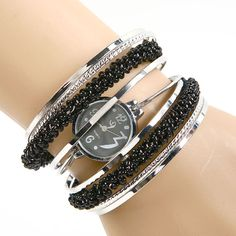 Fashion women's vintage Black Bracelet Beads Bangle Dial Quartz WristWatch girls intimates wrist watch #L05496