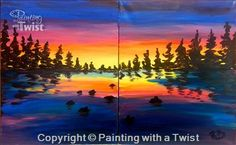 Lake Sunset Set - Couples each paint 1/2 of set - Avon, OH Painting Class - Painting with a Twist