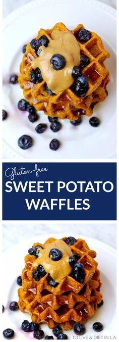 Healthy Sweet Potato Belgium Waffles made with oat flour, sweet potatoes, and whole healthy ingredients! Gluten-free - can be made vegan. #breakfast #waffles #healthyrecipes