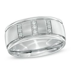 Triton Men's 1/8 CT. T.W. Diamond  Comfort Fit Stainless Steel Wedding Band - Size 10