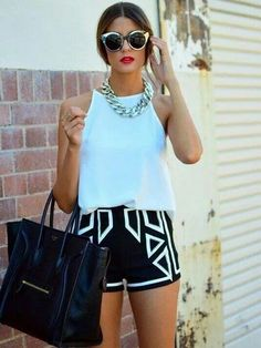 Aqua is so perfect for summer! Aqua tank with tribal black and aqua shorts. Womens teen spring summer fashion clothing love the color and the outfit Fashion Mode, Look Fashion, Fashion Beauty, Fashion Outfits, Womens Fashion, Fashion Trends, Street Fashion, Fashion Black, Fashion 2015