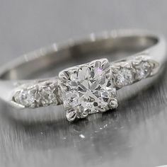 1940s Antique Art Deco 14k White Gold .53ct F SI Diamond Engagement Ring $2520.00