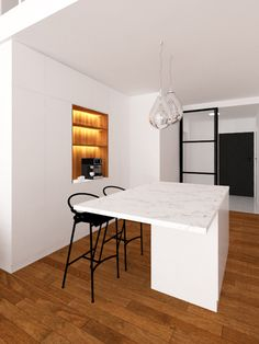 Interior design of apartment based on simple minimalistic colour scheme and combination of materials such as glass, wood, stone, steel. Design by Unhary. Wood Stone, Corner Desk, Color Schemes, Minimalist, Colour, Steel, Interior Design, Simple, Glass