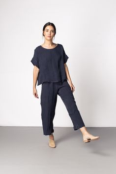 Florence Pant Navy Linen