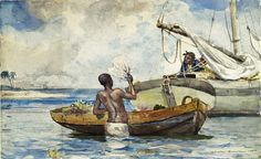 Winslow Homer (American artist, 1836-1910) Shark Fishing   During the 1880s, Winslow Homer vacationed in Florida, and the Caribbean, whe...