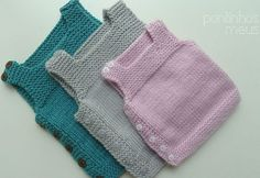 Side Button Easy Baby Vest How? (The beginning Last Lecture) - knitting patterns - knitting Baby Knitting Patterns, Knitting For Kids, Easy Knitting, Knitting Designs, Baby Patterns, Kids Vest, Knit Vest Pattern, N21, Baby Sweaters