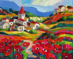 Village beyond the poppies - jigsaw puzzle pieces) South African Artists, Landscape Artwork, Naive Art, Colorful Paintings, Claude Monet, Pablo Picasso, Artist Art, Folk Art, Modern Art