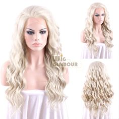 """Long Curly Wavy 24"""" Light Ash Blonde Lace Front Hair Wig Heat Resistant   eBay"""