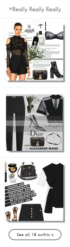 """""""#Really Really Really"""" by lolgenie ❤ liked on Polyvore featuring Alaïa, self-portrait, Valentino, STELLA McCARTNEY, Bobbi Brown Cosmetics, tops, blouses, black, off the shoulder ruffle blouse and frilled blouse"""