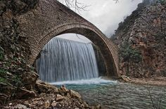 Stone bridge of Palaiokaria, Greece by Vicky Tsavdaridou Great Vacation Spots, Great Vacations, Old Bridges, Waterfall Photo, Going On Holiday, Beautiful Waterfalls, Covered Bridges, Nature Pictures, Adventure Travel