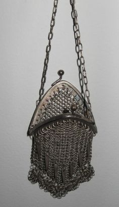 Antique German silver Chatelaine coin purse by MidwoodVintage, $174.99