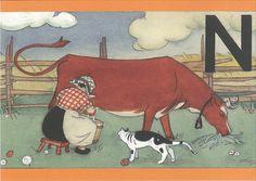 Elsa Beskow, Cow Art, Black And White Pictures, Martini, Finland, Vintage Art, Fairy Tales, Moose Art, Illustration Art