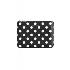 Comme Des Garçons Black Polka Dot Pouch ($135) ❤ liked on Polyvore featuring bags, wallets, leather pouch, black pouch, black leather wallet, real leather wallet and polka dot wallet