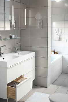 Organizing your bathroom is easier than you think! Click for IKEA ideas - like how our eco-friendly faucets help you save money by saving water - in Your Stress-Free Organization Guide!