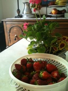 Wionderful strawberries straight from the field at P Farm in Lascassas Tennessee will go so well with lemon pound cake and a cup of coffee!  Life is good!  Strawberries is good, too!