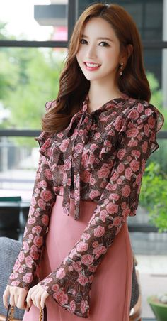 Blossom Print Ribbon Tie Ruffle Blouse - Dresses for Work Modest Fashion, Hijab Fashion, Fashion Dresses, Designs For Dresses, Moda Chic, Looks Chic, Colourful Outfits, Colorful Fashion, Elegant Outfit