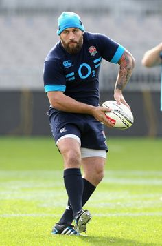 Joe Marler passes the ball during the England Captain's Run at Eden Park on June 6, 2014 in Auckland, New Zealand.