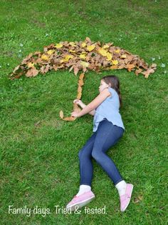 Great ideas for making leaf art and getting some fabulously FUN photos