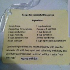 Aww!!! Recipe for Pioneering