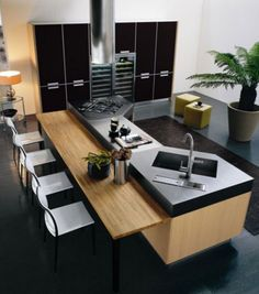 FB # inspiraçao cozinha # Minimalistic-modern-luxury-kitchen-island-design-with-wooden-contemporary-furniture-bar-and-chairs Modern Kitchen Plans, Modern Kitchen Design, Interior Design Kitchen, Contemporary Kitchens, Modern Kitchens With Islands, Modern Design, Farmhouse Interior, Industrial Kitchen Design, Farmhouse Small