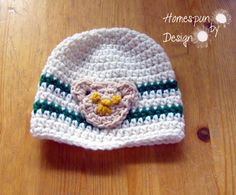 Crochet Baby Beanie with Bear Applique Off by HomespunByDesign, $8.00