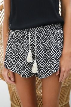 Erin Drawstring Tassel Shorts [2 Variants] #summervacationoutfits