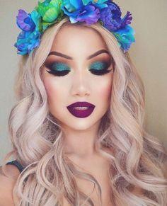 Luce increíble en ese festival de música tanto esperado #Makeup #Festival #Music #Maquillaje #Flowers #Lips #Eyeshadow #Glitter