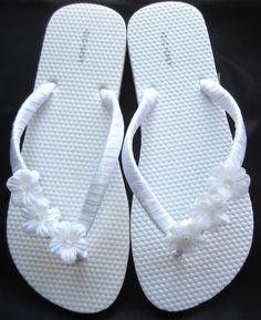 The bride's flip flops