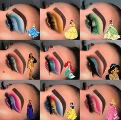 Eye looks to match Disney princesses Comment below which is your favourite loo. Edgy Makeup, Eye Makeup Art, Colorful Eye Makeup, Pink Makeup, Crazy Makeup, Burgundy Makeup, Makeup Eyebrows, White Makeup, Soft Makeup