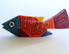 Vintage Wood Hand Carved Fish Folk Art from Merida, Mex