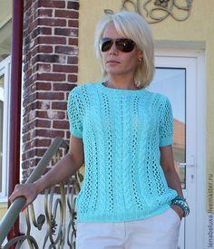 Купить Бирюзовый пуловер с короткими рукавами - вязаный пуловер, женский пуловер, вязание спицами