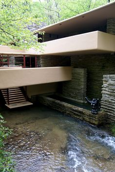 Fallingwater 3. Frank Lloyd Wright Buildings, Frank Lloyd Wright Homes, Falling Water House, Falling Waters, Amazing Architecture, Interior Architecture, Modern Mansion, Modern Buildings, Beautiful Homes