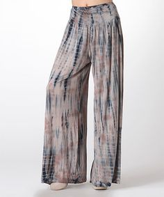 Another great find on #zulily! Beige & Navy Tie-Dye Palazzo Pants #zulilyfinds