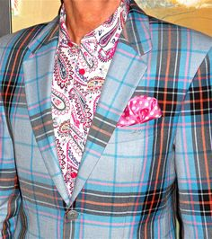 Moods of Norway blazer + shirt. Plaid blue blazez with white paisley print shirt for men.
