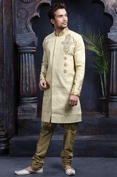 Deep Cream Brocade Kurta With Bridges D.No.335 http://www.silk-india.com/en/81-sherwani 102.20$. For Bulk Orders mail us :-  raksha@silk-india.com