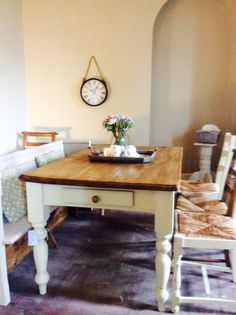 A gorgeous original vintage farmhouse 6 seater table plus a pretty church pew and mismatched chairs all ready today from The Old Summerhouse!!  6 seater tables £249, chairs from £47 and church pews from £225 To order your bespoke set visit  www.etsy.com/shop/theoldsummerhouse