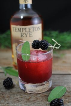 Sage Advice Cocktail, rye whiskey, blackberries, sage simple syrup for Fathers Day!