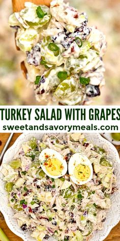 Turkey Salad is ideal to use leftover tukery meat, made with crunchy celery, apple, pecans, dried cranberries, and fresh sweet green grapes. #turkey #turkeysalad #leftoverturkey #sweetandsavorymeals #saladrecipes