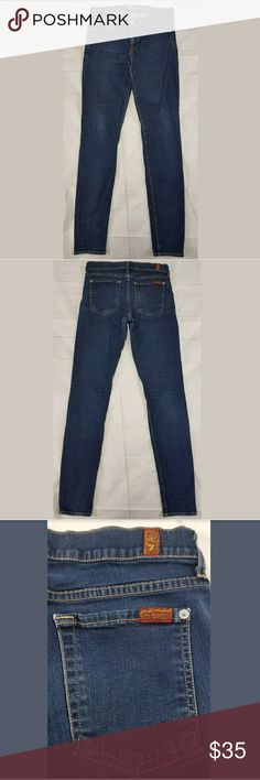 """7 For All Mankind The Skinny Jeans Size 28 7 For All Mankind The Skinny Jeans Size 28 Denim Pants Distressed Made In USA 98% Cotton 2% Spandex  Used Condition See Pictures For Condition  All Measurements Were Measured Flat Waist 14"""" Outseam 39"""" Inseam 31"""" Front rise 8"""" Back rise 13"""" Hip 15.5 Thigh 9.5"""" Knee 6"""" Leg Opening 5""""  A4 7 For All Mankind Jeans Skinny"""
