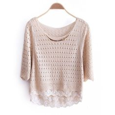 Autumn Women Cute Sweet Scoop Mid Sleeve Sequin-Detailed Knitting... ($16) via Polyvore