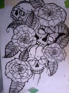 skulls and roses by ~sharpietip on deviantART