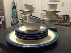 Set of 19 Pfaltzgraff Pieces! Ocean Breeze and Northwinds - Blue & Green Bands! Serving dish, cups and saucers, salad plates, bowl! by TimelessSeconds on Etsy