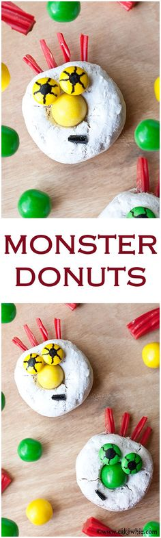 Easy but spooky monster donuts that even kids can make! No baking or complicated steps. Halloween Class Party, Halloween Desserts, Holidays Halloween, Halloween Treats, Fun Desserts, Halloween Donuts, Halloween 2015, Halloween Cakes, Holiday Treats