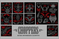 Vintage motorcycle labels by Digital-Clipart on Creative Market